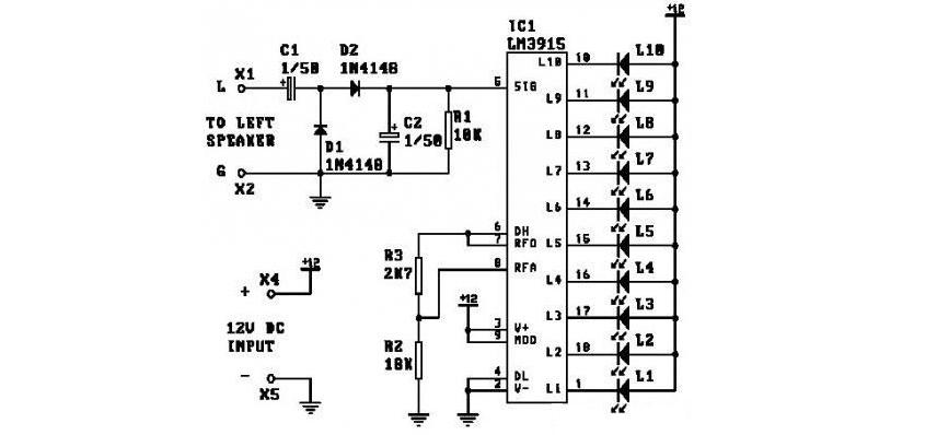 амперметр на светодиодах схема