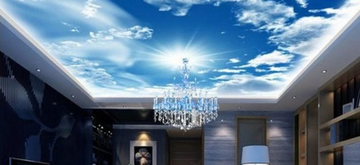 Подсветка натяжного потолка с рисунком