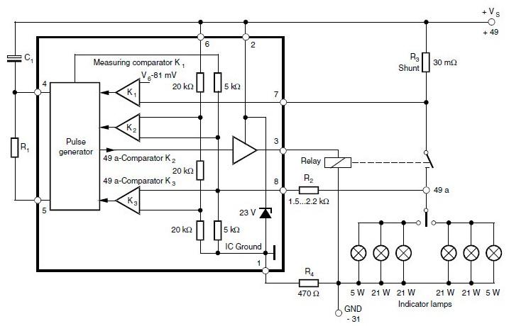 Схема электронного реле поворотов