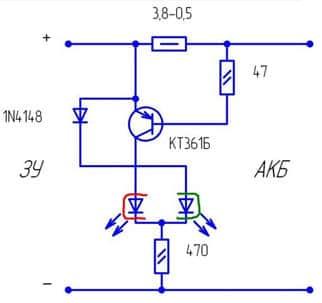 Принципиальная схема контроллера заряда АКБ