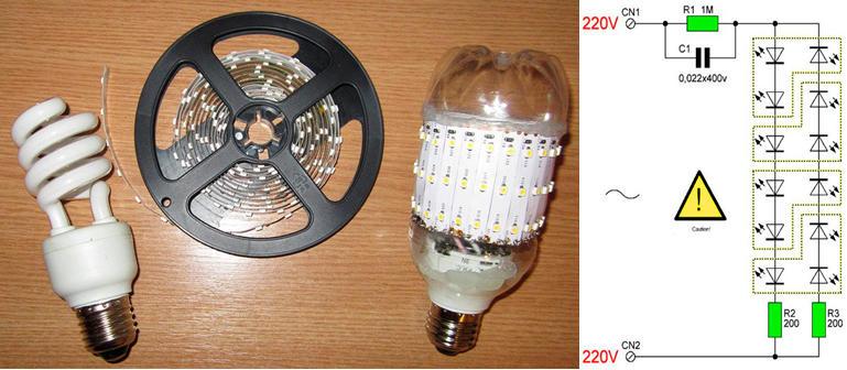 Схема и материалы для переделки лампы дневного света в светодиодную