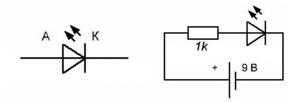 Принципиальная схема подключения светодиода