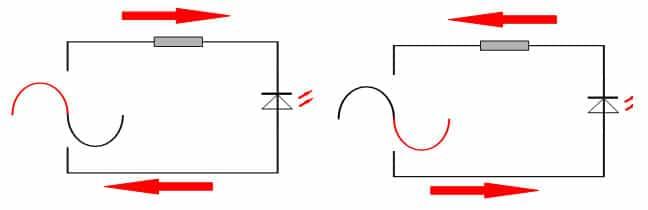 работа светодиода в сети переменного тока