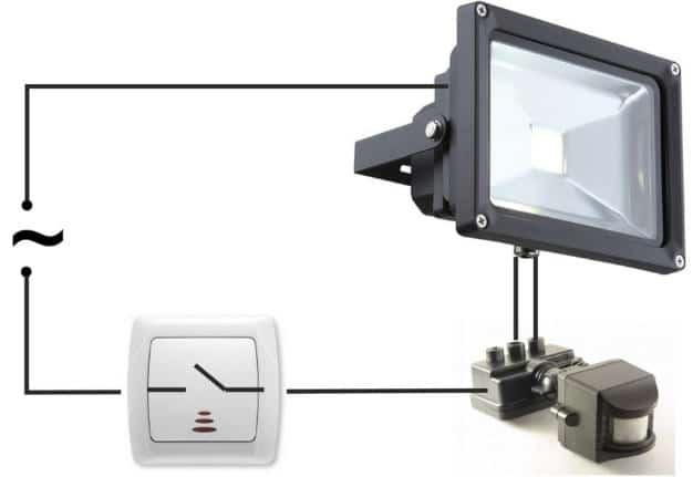 Основные узлы подключенного прожектора