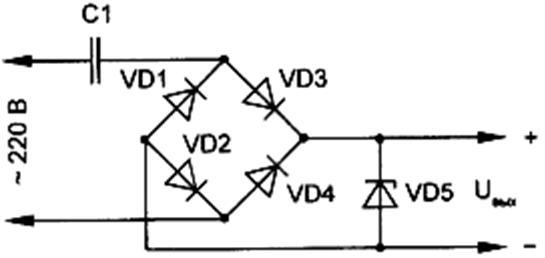 Схема на балластном конденсаторе