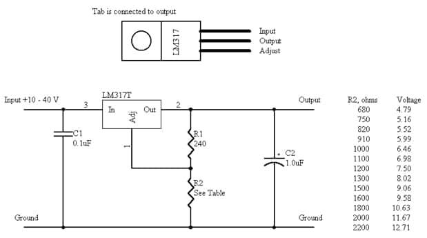 Схема подключения микросхемы типа Lm317