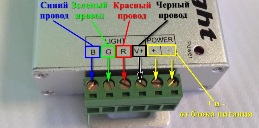 Клеммы подключения контроллера к светодиодной ленте