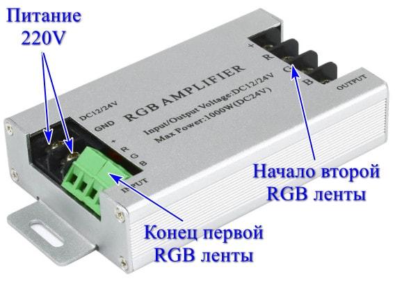 Клеммы для подключения RGB усилителя