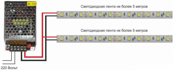 Схема подключения 12В LED ленты