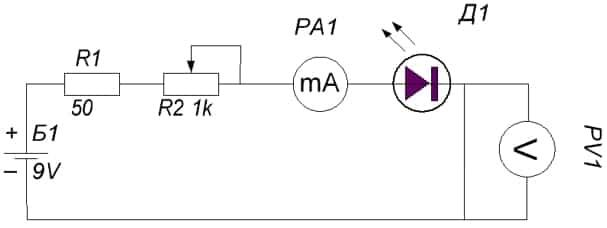 Схема пробника для определения параметров светодиода