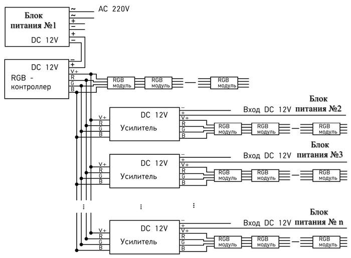 Схема: несколько параллельных усилителей с отдельными блоками питания