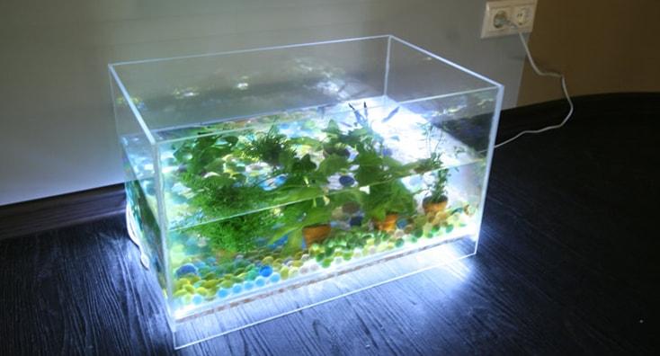 Подсветка LED лентой на дне аквариума