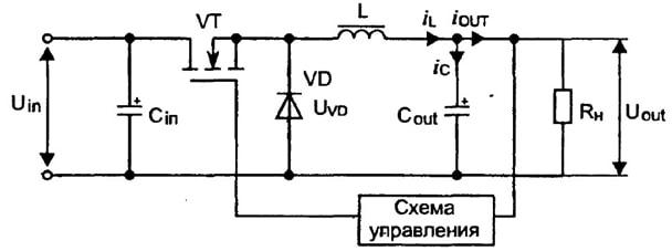 Упрощенная схема драйвера лампочки Томича