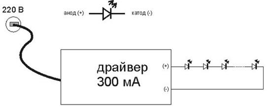 Схема подключения светодиодов с током 300мА к драйверу