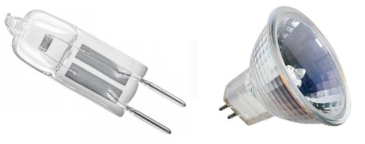 Низковольтная галогенная лампа 12V и точечный светильник для нее